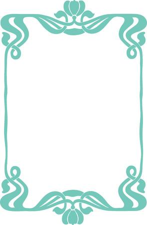 aqua flowers: Beautiful decorative floral frame, art nouveau design element
