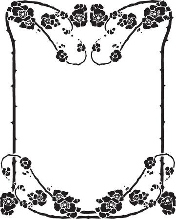 black swirls: Beautiful decorative floral frame, art nouveau design element