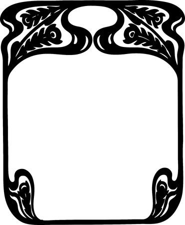 nouveau design: Beautiful decorative floral frame, art nouveau design element