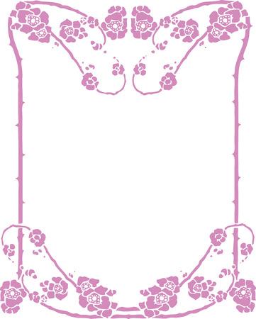 flower border: Beautiful decorative floral frame, art nouveau design element