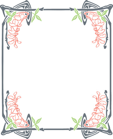 art nouveau frame: Beautiful decorative floral frame, art nouveau design element