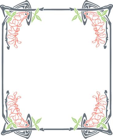 borde de flores: Hermoso marco decorativo floral, art nouveau elemento de diseño