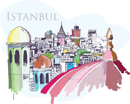 Handmade digital tablet drawing of Istanbul city view with Galata Tower, domes, buildings and trees