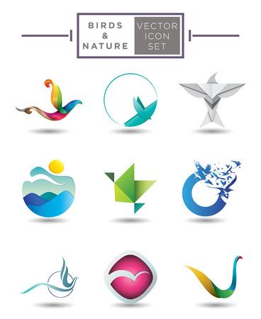 golondrinas: Colección de modernos diseños abstractos y estilizados del vector emblema