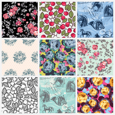 shabby: Nine pieces of classic seamless patterns with roses, cherries, retro flowers and horses, perfect for surface prints and backgrounds Stock Photo
