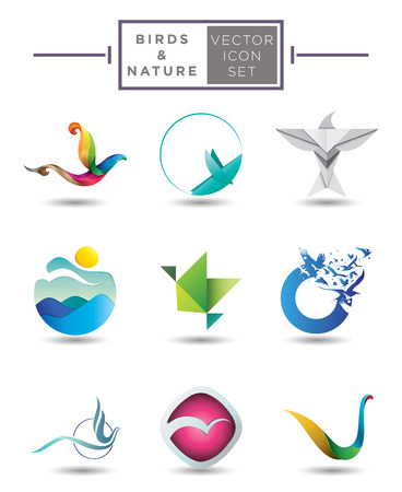 origami bird: Collection of abstract and stylized modern vector emblem designs