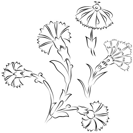 Set of carnation ornaments in traditional Ottoman Iznik style Illustration