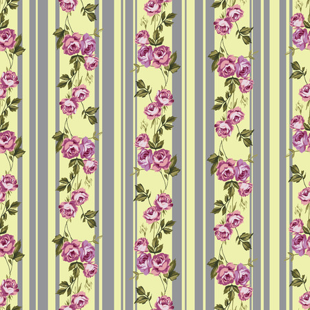 stripes seamless: Vintage style vector seamless pattern with pretty roses and stripes
