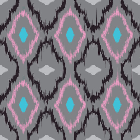 abstract seamless: Seamless pattern design in ikat style, perfect for fabric prints, object surfaces, web backgrounds etc. Fully editable eps vector. Illustration