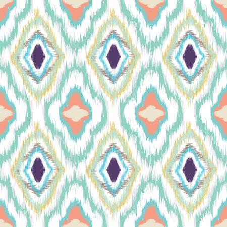 Nahtloses Muster-Design in Ikat-Stil, ideal für Stoffdrucke, Objektoberflächen, Web-Hintergründe usw. Voll editierbare Vektor-EPS. Standard-Bild - 42116739