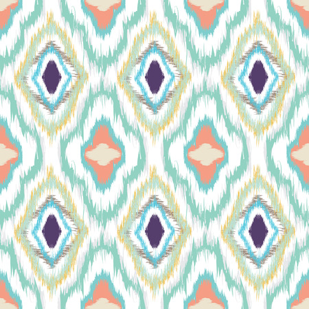 Seamless pattern design in ikat style, perfect for fabric prints, object surfaces, web backgrounds etc. Fully editable eps vector. Ilustração