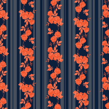 indigo: Vintage style vector seamless pattern with pretty roses and stripes