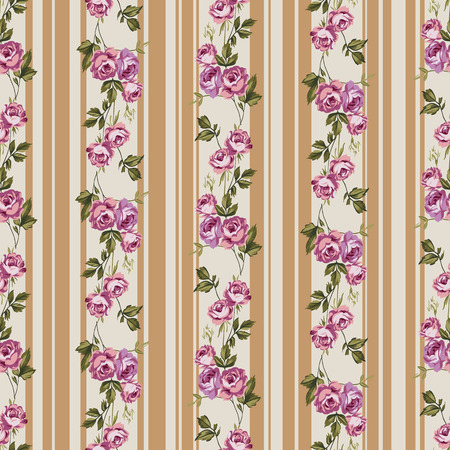 english rose: Vintage style vector seamless pattern with pretty roses and stripes