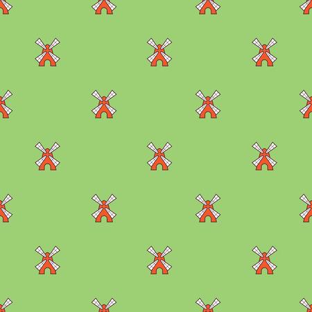 dutch tiles: Vector seamless pattern with cute little windmills Illustration