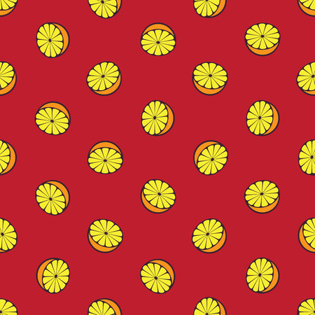 citrus fruits: Vector seamless pattern with rotated half citrus fruits, can be interpreted as lemons, grapefruits, oranges etc.