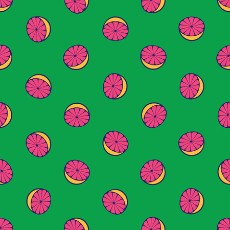 grapefruits: Vector seamless pattern with rotated half citrus fruits, can be interpreted as lemons, grapefruits, oranges etc.