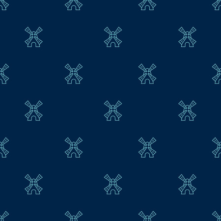dutch: Vector seamless pattern with cute little windmills Illustration