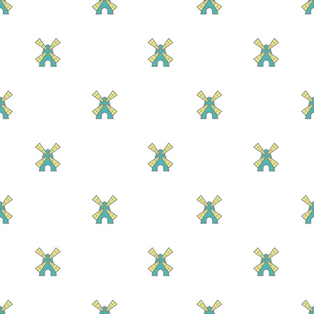 dutch culture: Vector seamless pattern with cute little windmills Illustration