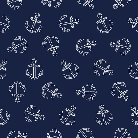 seafaring: Vector seamless pattern design with rotated anchors, marine concept, perfect for surface prints, wallpapers, wrapping papers, web, textiles etc.