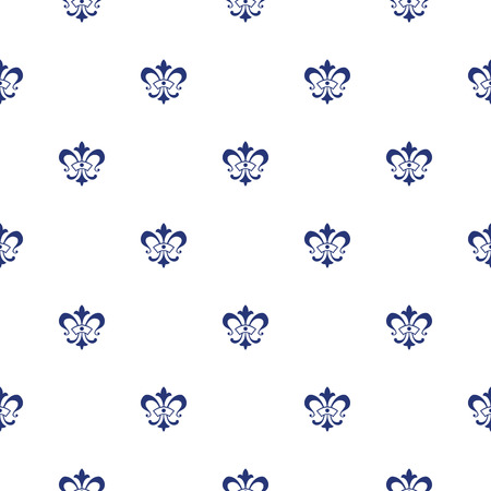 royal french lily symbols: Elegant vector seamless pattern design with lis de fleur symbols Illustration