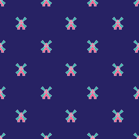 windmills: Vector seamless pattern with cute little windmills Illustration