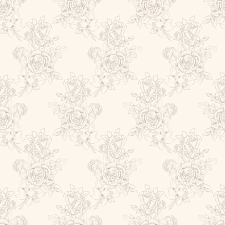 ivory: Seamless pattern design with sketchy bouquet of roses drawing Stock Photo