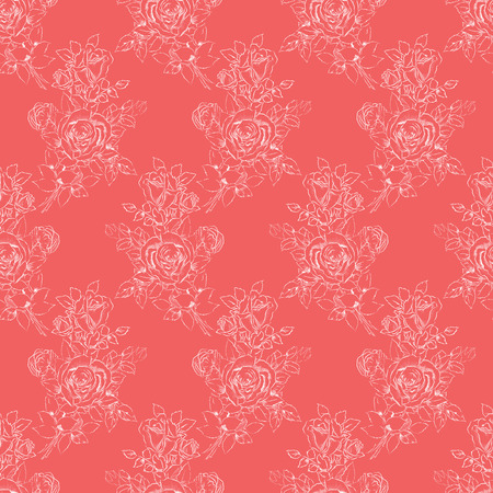sketchy: Seamless pattern design with sketchy bouquet of roses drawing Stock Photo