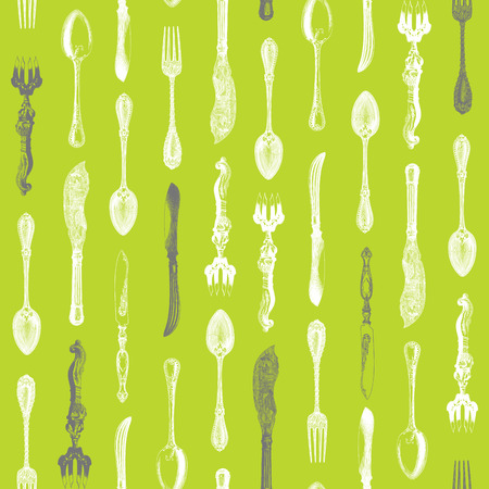 engravings: Seamless pattern design with vintage silverware engravings, ornate spoons, knives and forks