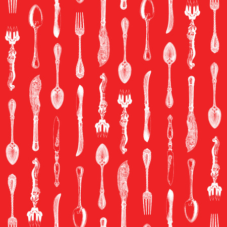 silverware: Seamless pattern design with vintage silverware engravings, ornate spoons, knives and forks