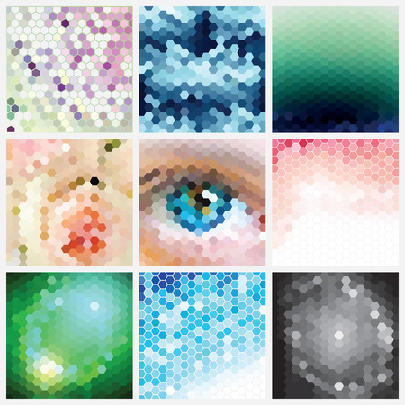 triangular eyes: Selection set of nine different and original hexagonal abstract vector patterns