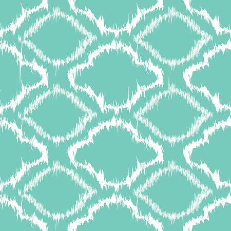 aqua background: Ikat seamless pattern design, turquoise and white Illustration