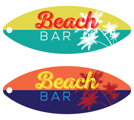 beach bar: Beach bar vector emblem design on a surfboard with palm tree silhouette
