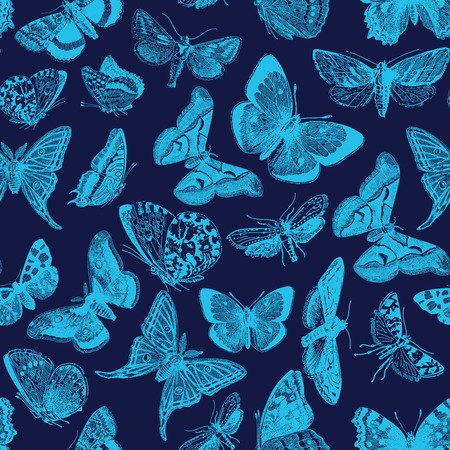 Seamless pattern design with ephemeral butterfly engravings