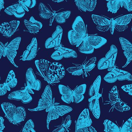 indigo: Seamless pattern design with ephemeral butterfly engravings
