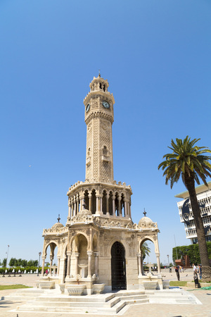 clocktower: Famous ancient clocktower in Konak Square, Izmir, built in 1901, the tower became the symbolic landmark of Izmir, Turkey. Editorial