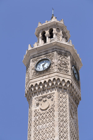 clocktower: Famous ancient clocktower in Konak Square, Izmir, built in 1901, the tower became the symbolic landmark of Izmir