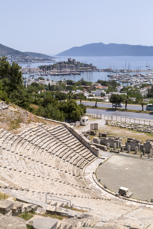 Ruins in the Bodrum ancient amphitheater dating back to early Hellenistic era