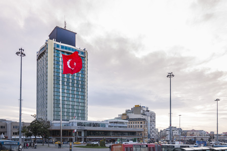 View from Taksim Square, the busiest spot of Istanbul. The Republic Monument stands in the middle of the square.