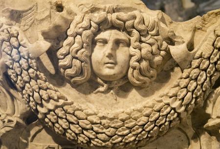 Ruins of Hierapolis, the ancient site located in Pamukkale, Denizli, Turkey. Stock Photo