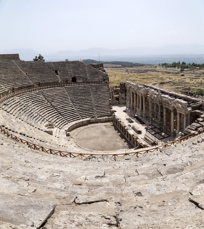 Ruins of Hierapolis, the ancient site located in Pamukkale, Denizli, Turkey. Stock Photo