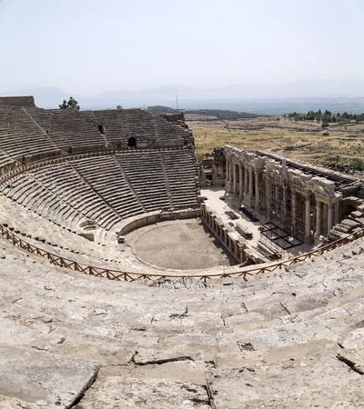 archaeologies: Ruins of Hierapolis, the ancient site located in Pamukkale, Denizli, Turkey. Stock Photo