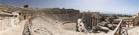 Ruins of Hierapolis, the ancient site located in Pamukkale, Denizli, Turkey. Banco de Imagens