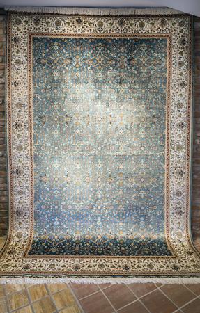 Tapijt textuur met Turkse bloemen ornamenten Stockfoto