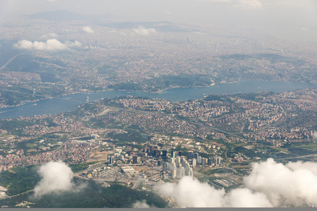 Aerial view of Levent and 4 Levent districts of Istanbul. The area is located on the European side of the city with skycrapers Stock Photo
