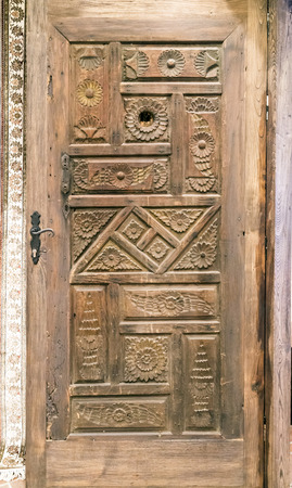 wood carving door: Wooden ornate door Stock Photo