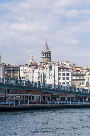 Galata Tower and Galata Bridge on the Golden Horn, Istanbul, Turkey