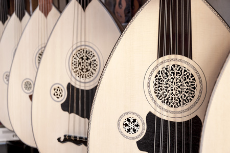 instrumentos musicales: Image of uds hung on wall. Ud is very popular in Arab and Greek cultures too. Foto de archivo