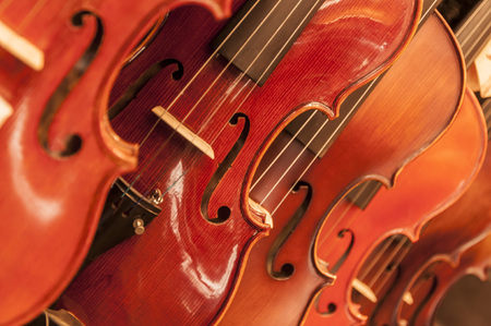 violas: Violins or violas close up background