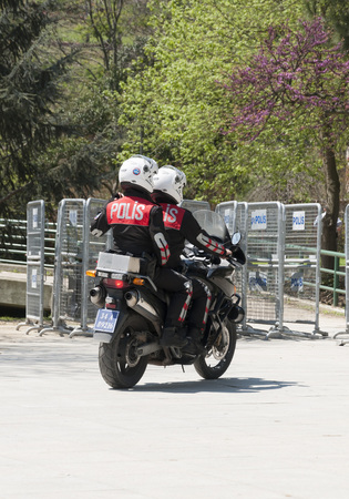 Turkish police officers with motobike