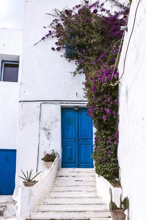 Typical Tunisian architecture in Sidi Bou Said, Tunisia Stock Photo